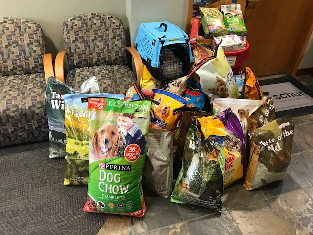 Donated food for pets displaced by hurricane Harvey.