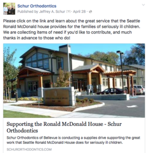 Facebook post community support Ronald McDonald House