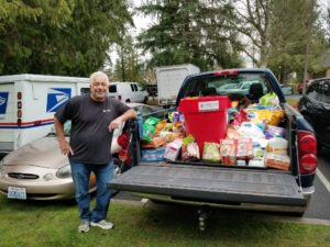 Dr. Schur's truck loaded with donate pet food.