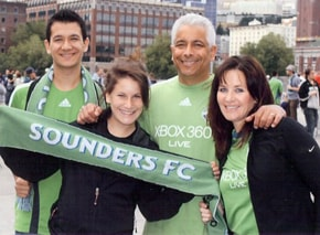 The team from our Bellevue Family Orthodontics practice ready to cheer on the Seattle Sounders.