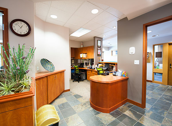 Behind the front desk at our Redmond area orthodontists office.