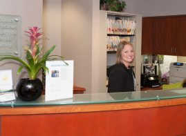 The front desk of Schur Orthodontics.